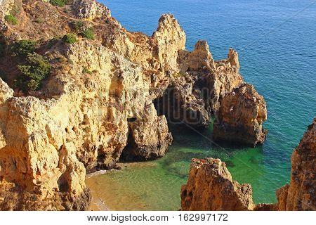 Cliffs and small beach near Ponta da Piedade, Lagos, Algarve, Portugal