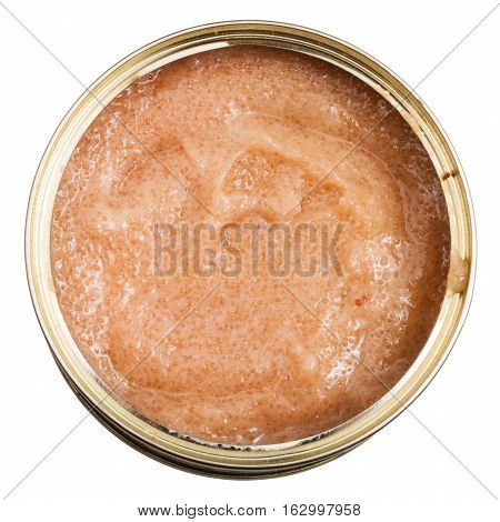 Open Tin With Caviar Of Perch Fish Isolated