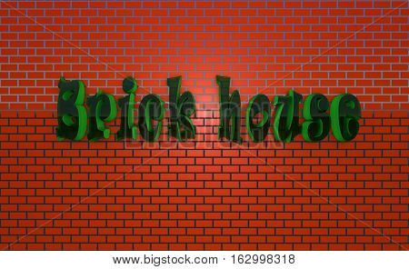 brick house letters the words green red transparent