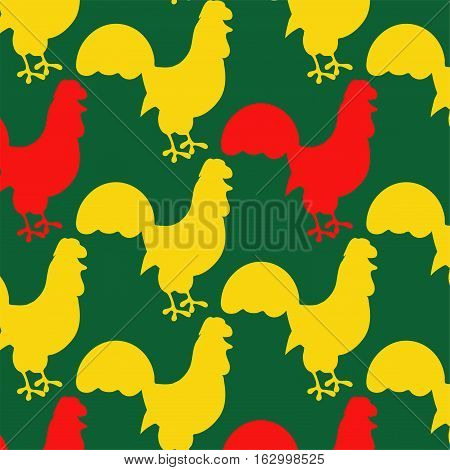 Bright seamless pattern with cocks on the green background