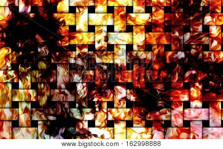 Fire flames background, mosaic structure. Computer collage. Earth Concept