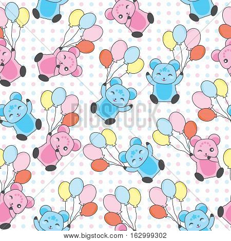 Seamless background of birthday illustration with cute bears bring balloons on polka dot background suitable for birthday scrap paper, wallpaper, and postcard