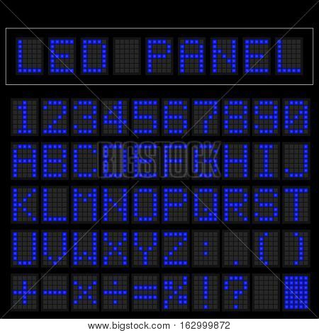 Blue digital squre led font display with sample panel