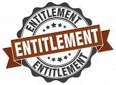 entitlement. stamp. sign. seal. round. retro. ribbon poster
