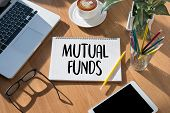 """MUTUAL FUNDS Finance and Money concept Focus on mutual fund investing """" Mutual Funds """" Internet Data Technology poster"""