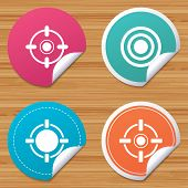 Round stickers or website banners. Crosshair icons. Target aim signs symbols. Weapon gun sights for shooting range. Circle badges with bended corner. Vector poster