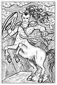 Centaur. Human warrior with horse body. Fantasy magic creatures collection. Hand drawn vector illustration. Engraved line art drawing, graphic mythical doodle. Template for card game, poster poster