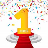 Winner, number one confetti background. Prize award triphy symbol. Victory and success concept. Champion sign. poster