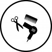 haircut or hair salon symbol 2 poster