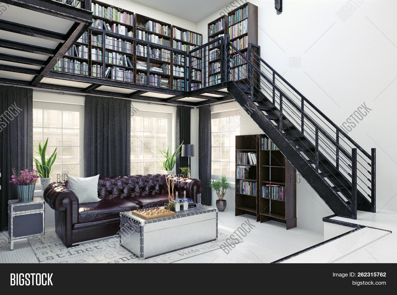Delightful Home Library Interior Design. 3d Rendering Concept