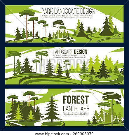 Landscaping Design Or Urban Horticulture And Planting Service. Vector Green Project Design Of City E