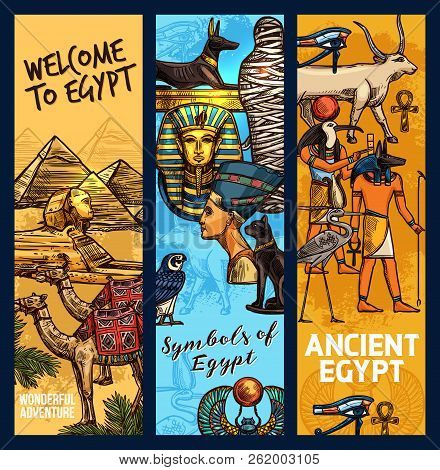 Egypt Travel Landmarks And Ancient Religion Culture. Vector Sketch Egyptian Cheops Pharaoh Pyramid,