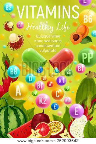 Vitamins And Minerals In Fruits Healthy Food. Vector Multivitamins In Apricot, Exotic Tropical Rambu