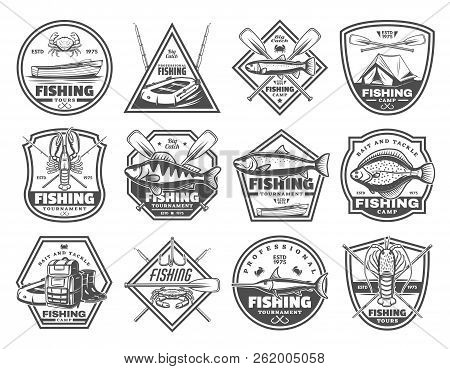 Fishing Club Or Fisher Camp Icons Of Fish And Rod Tackles. Vector Fisherman Camp Tent, Boat With Pad