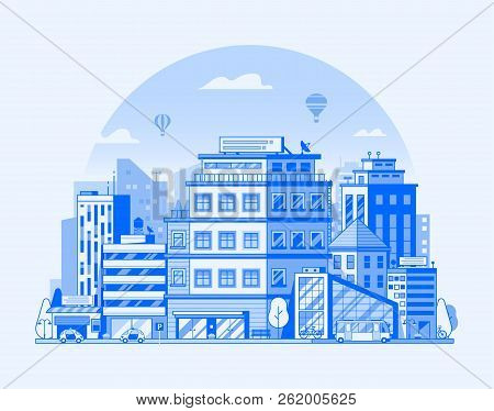 Modern City Street Landscape With Skyscrapers, Office Buildings And Transport. Urban Cityscape With