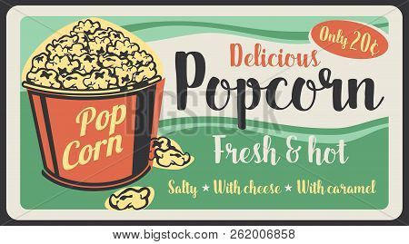 Popcorn Fast Food Sweet Desserts Snack Poster, Fastfood Restaurant Or Cinema Bistro Menu. Vector Vin
