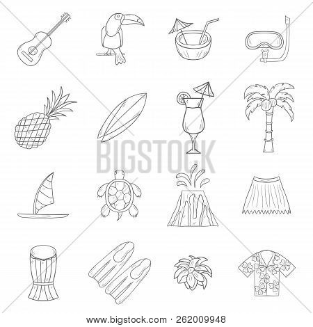 Vector Illustration With Cartoon Hand Drawn Hawaii Icons. Tropical Island Summer Travel. Beach Life,