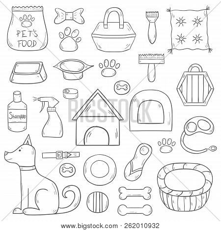 Vector Illustration With Cartoon Hand Drawn Dog Stuff Icons With Dog Character. House Pet Concept. V