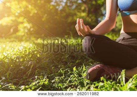 Yoga In The Park, Outdoor With Effect Light, Health Woman, Yoga Woman. Concept Of Healthy Lifestyle