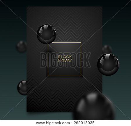 Black Friday Luxury Banner. Golden Text On Black Square Label Frame. Dark Geometric Pattern Backgrou
