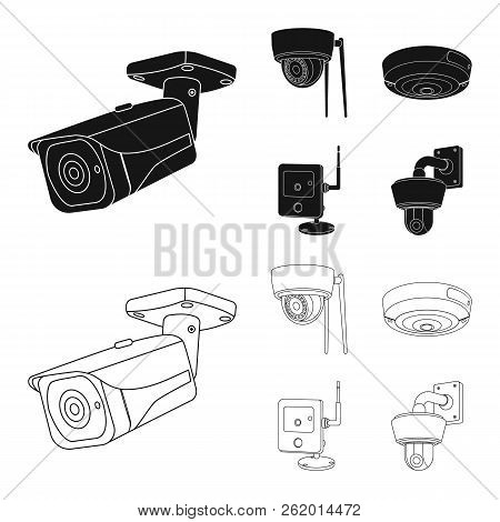 Vector Illustration Of Cctv And Camera Sign. Set Of Cctv And System Stock Symbol For Web.