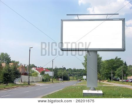 Large blank billboard by the street