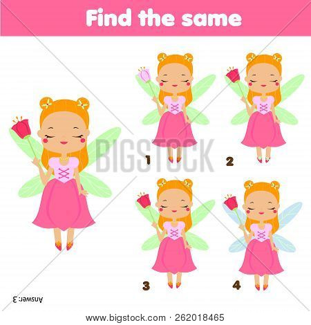Find The Same Pictures Children Educational Game. Find Two Identical Princess Fairy