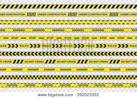 Creative Police Line Black And Yellow Stripe Border. Police, Warning, Under Construction, Do Not Cro