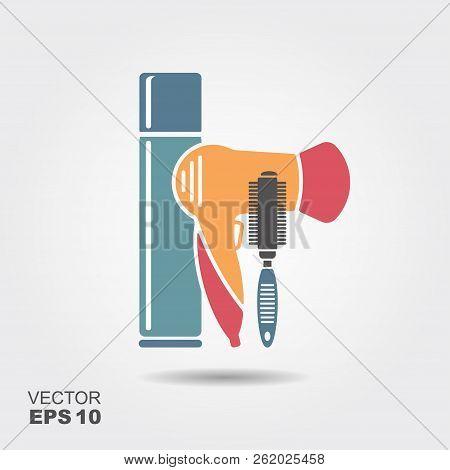 Hair styling tools. Hairbrush, hairspray, hairdryer. Flat icon poster