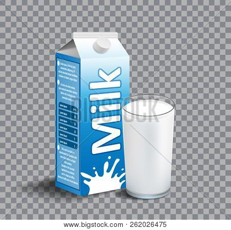 Carton package of milk isolated on transparent background. realistic Glass of milk. Dairy product for branding. vector illustration poster