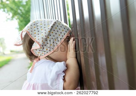 Baby Girl Peeping Through Hole In Fence. Child Looking On Something