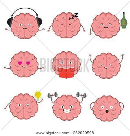 Funny Strong, Healthy And Smart Brain. Brains Emotions Vector Cartoon Characters Set. Illustration O