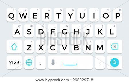 Phone Keyboard. Cellphone Keypad With Letters And Phone Icons. Isolated Vector Set. Illustration Of