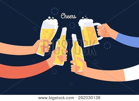 Cheering Hands. Cheerful People Clinking Beer Bottle And Glasses. Happy Drinking Holiday Vector Back