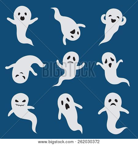 Scary Ghosts. Cute Halloween Ghost. White Silhouette Vector Boohoo Ghostly Characters Isolated. Cart