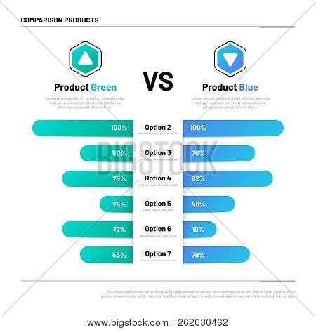 Comparison Table. Graphs For Product Compare. Choosing And Comparison Content. Vector Infographic Co