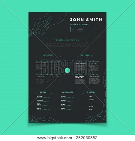 Curriculum vitae template. Cv resume for placeholder company vector layout. Illustration of vitae curriculum profile with language, hobby and skill poster