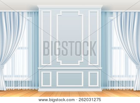Classic Interior. White Wall With Moulding Frames And Window. Home Room Vintage Vector Decoration. I