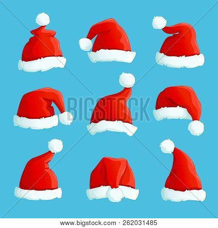 Santa Hats. Cartoon Christmas Costume Caps With Fur. Santa Claus Hat Vector Set. Illustration Of Cap