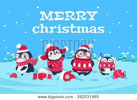 Cute Cartoon Penguins. Christmas Baby Penguin Arctic Characters In Snowy Winter Landscape. Merry Chr