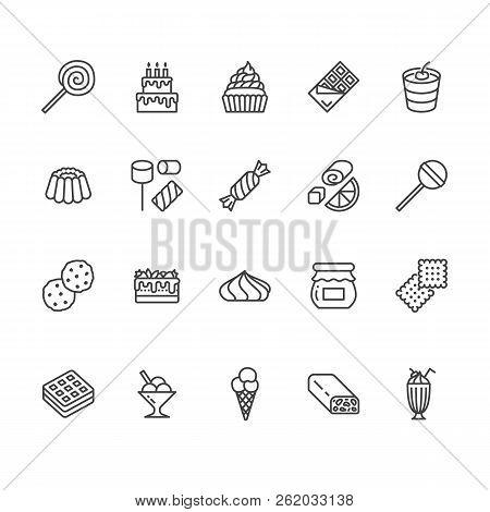 Sweet Food Flat Line Icons Set. Pastry Vector Illustrations Lollipop, Chocolate Bar, Milkshake, Cook