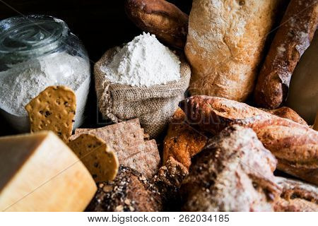 Homemade sourdough bread food photography recipe idea poster