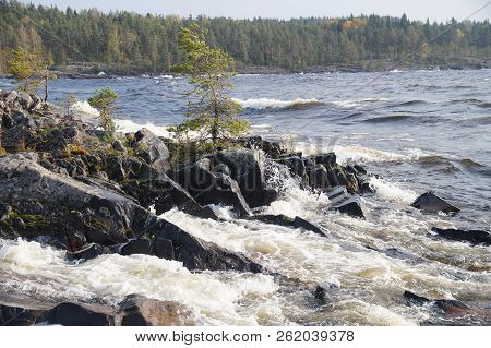 The Bay Of The Lake With Foaming Waves On A Clear Windy Day With The Shore Overgrown With Forest In