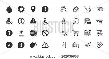 Set Of Attention, Information And Caution Icons. Question Mark, Warning And Stop Signs. Injury, Disa