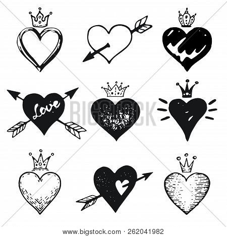 Heart Set, Hand Drawn Doodle Sketch Style. Handdrawn Illustrations By Brush, Pen, Ink. Cute Crown, A