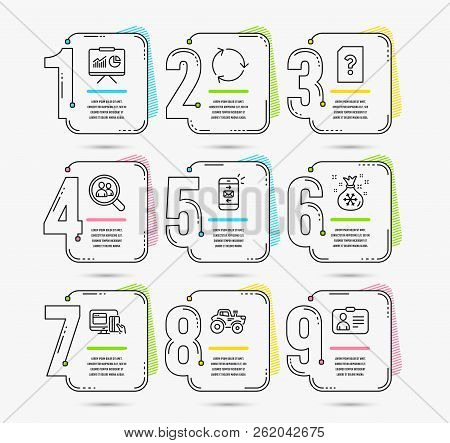 Infographic Template With Numbers 9 Options. Set Of Presentation, Search Employees And Online Paymen