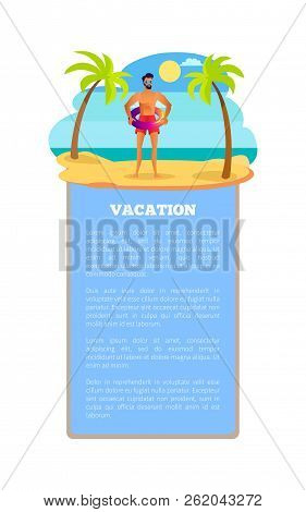 Vacation Hot Summer Poster Tropical Beach And Athletic Sportsman At Summertime. Male In Sunglasses,