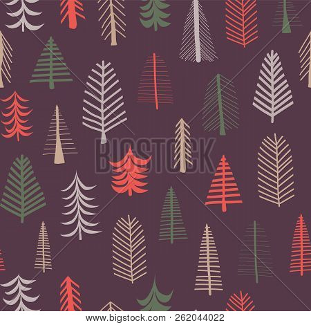 Christmas Trees Background Seamless Vector Pattern Repeat Tile Green Brown And Red