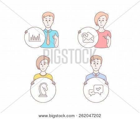 People Hand Drawn Style. Set Of Receive Mail, Line Graph And Marketing Strategy Icons. Approve Sign.