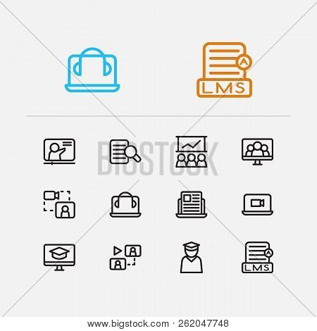 Webinar Icons Set. Development Training And Webinar Icons With Online Course, Online Knowledge And E